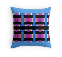 Strong repeat pattern with blue background. Throw Pillow
