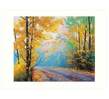 Misty Fall Road Art Print