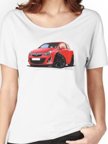 Vauxhall Corsa D (Facelift) Red (Black Wheels) Women's Relaxed Fit T-Shirt