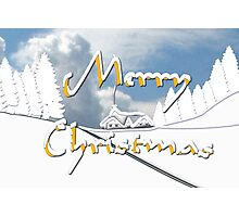 Merry Christmas from a Snowy Countryside Photographic Print