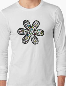 Flower, Animal Print, Spotted Leopard - Yellow Blue Green  Long Sleeve T-Shirt