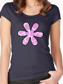 Flower, Animal Print (Giraffe Pattern) - Pink White  Women's Fitted Scoop T-Shirt