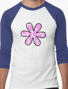 Flower, Animal Print (Giraffe Pattern) - Pink White  Men's Baseball ¾ T-Shirt