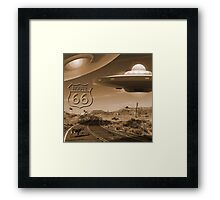 YOU NEVER KNOW WHAT YOU'LL SEE ON ROUTE 66 Framed Print