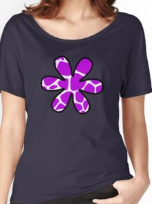 Flower, Animal Print (Giraffe Pattern) - Purple White  Women's Relaxed Fit T-Shirt