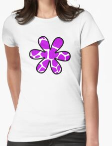 Flower, Animal Print (Giraffe Pattern) - Purple White  Womens Fitted T-Shirt