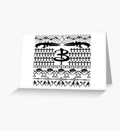 Buffy Ugly Holiday Sweater Pattern Greeting Card