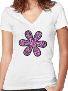 Flower, Animal Print, Spotted Leopard - Pink Black  Women's Fitted V-Neck T-Shirt