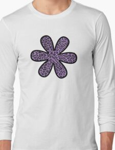 Flower, Animal Print, Spotted Leopard - Purple Black Long Sleeve T-Shirt