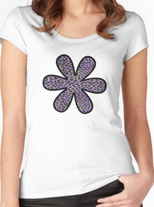 Flower, Animal Print, Spotted Leopard - Purple Green  Women's Fitted Scoop T-Shirt