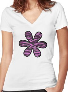 Flower, Animal Print, Zebra Stripes - Black Pink  Women's Fitted V-Neck T-Shirt