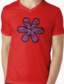 Flower, Animal Print, Zebra Stripes - Black Pink  Mens V-Neck T-Shirt