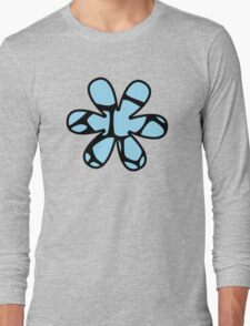 Flower, Animal Print (Giraffe Pattern) - Black Blue  Long Sleeve T-Shirt