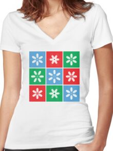 Holiday Snowflake Lanterns  Women's Fitted V-Neck T-Shirt