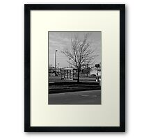 Empty Bus Stop Framed Print