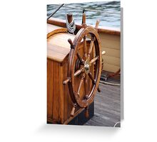 Traditional wooden ships wheel, Brest 2008 Maritime Festival, France Greeting Card