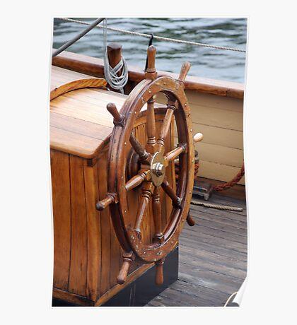 Traditional wooden ships wheel, Brest 2008 Maritime Festival, France Poster