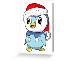 Piplup Santa Hat Greeting Card