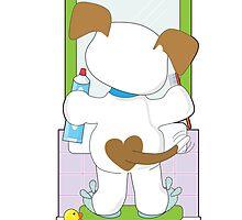 Cute Puppy Bathroom by Maria Bell