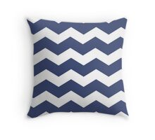 Navy Blue Chevron Pattern Throw Pillow