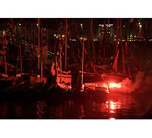 Red flare in front of boat masts in harbour, Brest 2008 Maritime Festival, France Photographic Print