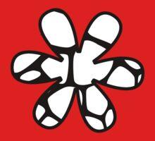 Flower, Animal Print (Giraffe Pattern) - Black White  One Piece - Long Sleeve