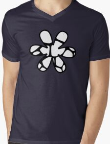 Flower, Animal Print (Giraffe Pattern) - Black White  Mens V-Neck T-Shirt