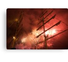 Bastille Day fireworks in front of the Russian ship Kruzenshtern, Brest 2008 Maritime Festival, France Canvas Print