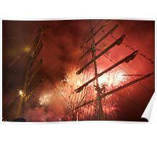 Bastille Day fireworks in front of the Russian ship Kruzenshtern, Brest 2008 Maritime Festival, France Poster
