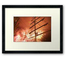 Bastille Day fireworks in front of the Russian ship Kruzenshtern, Brest 2008 Maritime Festival, France Framed Print