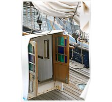 Beautiful coloured glass doors onboard traditional wooden boat, Brest 2008 Maritime Festival, Brittany, France Poster