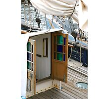 Beautiful coloured glass doors onboard traditional wooden boat, Brest 2008 Maritime Festival, Brittany, France Photographic Print