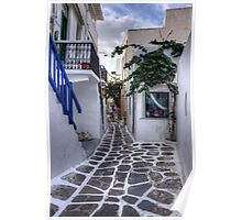 Residential Streets of Mykonos Poster