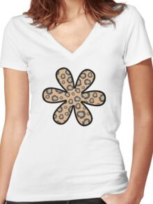 Flower, Animal Print, Spotted Cheetah - Black Brown  Women's Fitted V-Neck T-Shirt