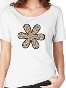 Flower, Animal Print, Spotted Cheetah - Black Brown  Women's Relaxed Fit T-Shirt