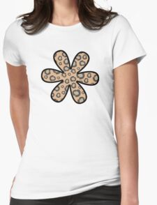 Flower, Animal Print, Spotted Cheetah - Black Brown  Womens Fitted T-Shirt