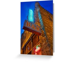 Glowing Oasis - Bar and Neon Signs at Night Greeting Card