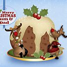Christmas Reindeer For Mum And Dad, Greeting Card by Moonlake