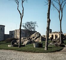 Discarded mill stones Falaise castle grounds 198402170035 by Fred Mitchell