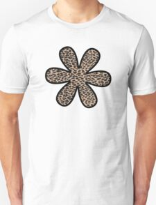 Flower, Animal Print, Spotted Leopard - Brown Black Unisex T-Shirt