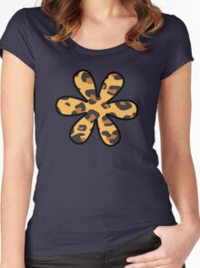 Flower, Animal Print, Spotted Leopard - Brown Black Women's Fitted Scoop T-Shirt
