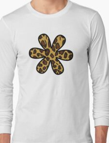 Flower, Animal Print, Spotted Leopard - Brown Black Long Sleeve T-Shirt