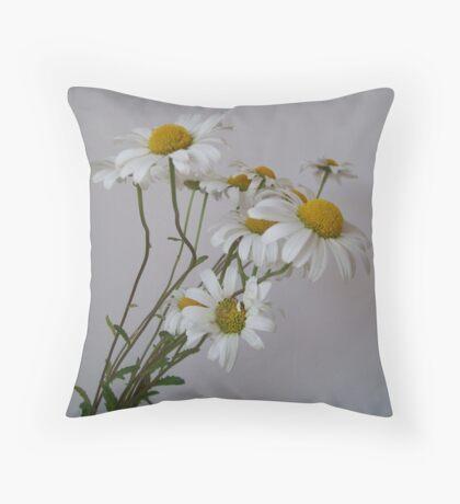 Wistful White Daisies Throw Pillow