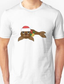 Brown Baby Seal with Santa Hat, Holly & Gold Bell Unisex T-Shirt