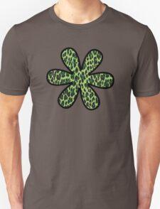 Flower, Animal Print, Spotted Leopard - Green Black  Unisex T-Shirt