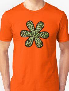 Flower, Animal Print, Spotted Leopard - Green Black  T-Shirt