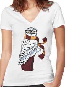 Hipster Owl Women's Fitted V-Neck T-Shirt