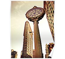 Flatiron Building and 5th Avenue Clock - New York City Poster