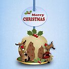 iPhone case with reindeer and pudding Merry Christmas by Moonlake