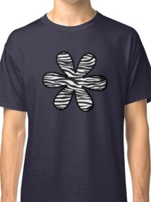 Flower, Animal Print, Zebra Stripes - Black White Classic T-Shirt